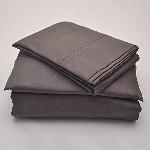 - 4 Piece Attached with Fitted Sheet 100% Egyptian Cotton Waterbed Cotton Sheets with 15 inch Drop 600 Thread Count -Luxurious Hotel Collection -(Dark Grey Solid, Queen)