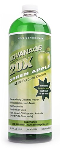 ADVANAGE the Wonder Cleaner 20X Multi-Purpose | Ultra Concentrated Formula, Makes 20 Quarts | Eco Friendly | Child and Pet Safe | Non Toxic & Biodegradable | Green Apple Scented | 32 fl oz Bottle by ADVANAGE THE WONDER CLEANER