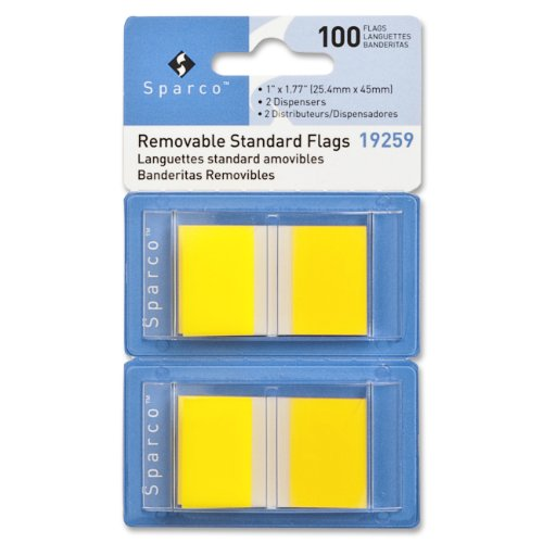 Sparco Pop-up Removable Standard Flags, 1 Inches, 100 per Pack, Yellow (SPR19259) ()