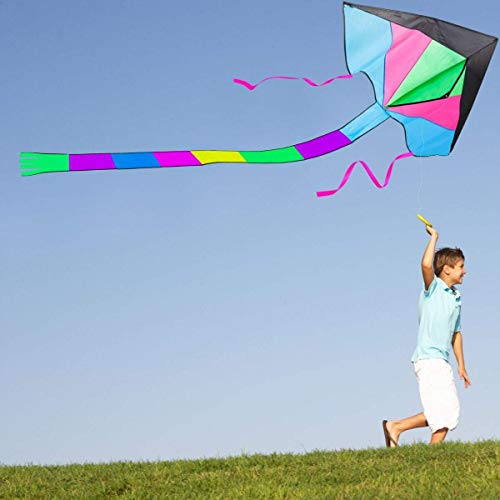 LIDERSTAR Huge Kite for Kids and Adults -Big Rainbow Kite 61 Inches Wide - Long Tail 95 inch,100 Meter String -Easy to Fly Toy for Outdoor Games Beach and Activities -Good Plan for Memorable Fun