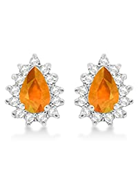 1.10ctw Citrine and Diamond Accented Teardrop Earrings 14k White Gold