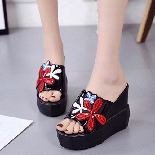 fond chaussures de erthome talons épais noir inclinées bouche compensées brodées plateforme pantoufles poisson hauts femmes à wIq6A7fIg