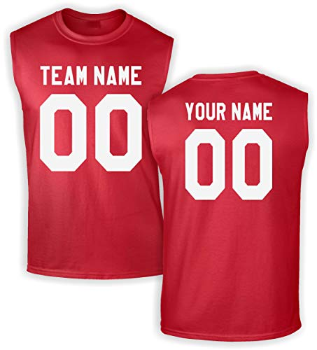 Custom Jersey-Style Front and Back Sleeveless T-Shirt - Add Your Team, Name, and Number Red