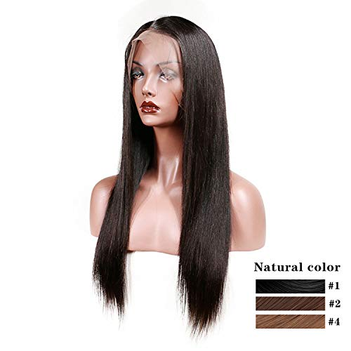 Slove Brazilian Lace Front Human Hair Wigs For Black Women Remy Hair Straight Wig With Baby Hair Natural Hairline Full End,#2,8inches -