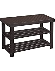 SONGMICS Bamboo Shoe Bench, Shoe Rack, Stable Shoe Organizer for Entryway, Living Room, Bedroom, Storage Shelf Load up to 130 kg, 70 x 28 x 45 cm, Brown ULBS04Z