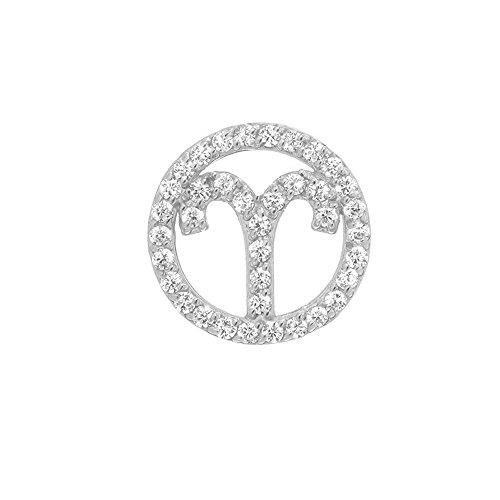 Mini Mini Jewels 14k White Gold Diamond Studded Aries Zodiac Dazzling Halo Single Earring ()