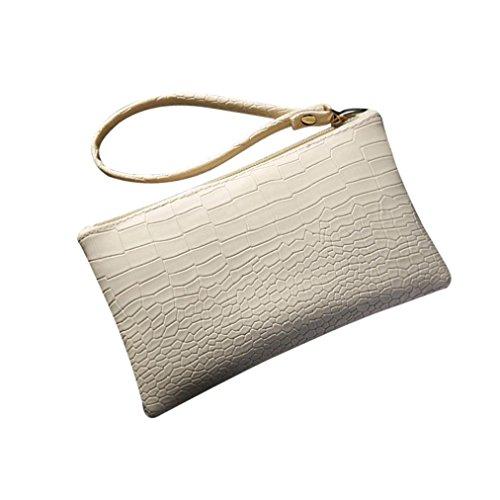 Crocodile Tassel - Hunzed Women Handbag, Leather Purse Phone Bag } Women { Vintage Handbag } Girls { Crocodile Patten Mini Bag} Gift (Beige)