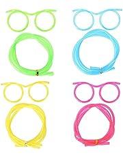 MOTZU 4 Pieces Silly Straws, Novelty Flexible Soft Drink Eyeglasses, Fun Party Drinking Straw Eye Glasses, Crazy Funky Drinking Tube For Party Supplies, Children Kids Birthday (Random Color)