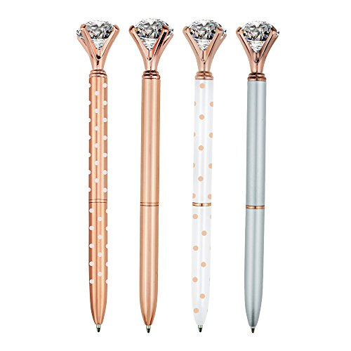 4 Pcs Rose Gold Pen with Big Diamond/Crystal,Metal Ballpoint Pen,Rose Gold White and Silver,School and Office Supplies,Black Ink