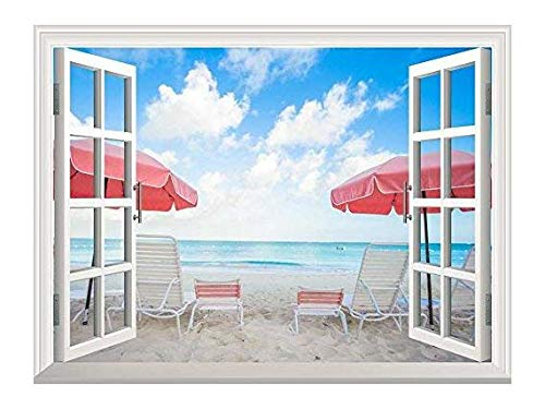 Removable Wall Sticker Wall Mural Two Chairs and Umbrellas on Stunning Tropical Beach Creative Window View Wall Decor