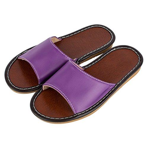 Orteils Chaussons Pantoufles de Intérieur Été Haisum Air Femme Chambre de Ouvert Plein purple Maison Cuir OAzHq