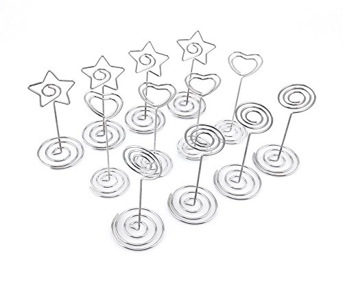 Honbay 12pcs Circle Heart Star Shape Wire Photo Clip Holder Spiral Base Stand Table Card Note Memo Decoration (Star Photo Holder)
