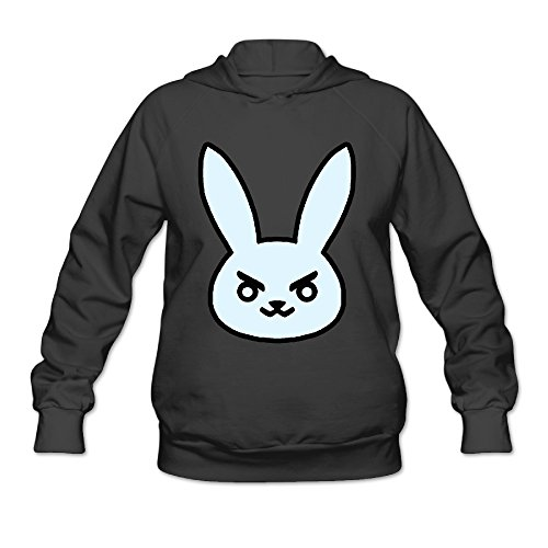 DVPHQ Women's Funny Over Game Rabbite Hoodies Size M Black
