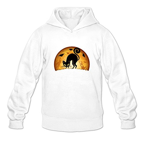 JUST Women's Costumes Happy Halloween Cute Black Cat Hoodie White -
