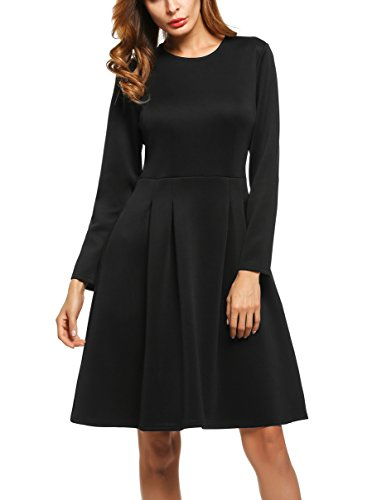 ACEVOG Women's Long Sleeve Fit and Flare Cocktail Party Pleated Dress With Pockets (Large, Black)