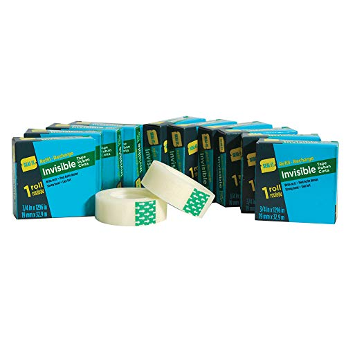 Seal-It Invisible Stationery Tape Refill Rolls 3/4 x 1296 Inches, Value Pack of 12, 15,552 Inches Total