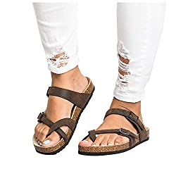Liyuandian Womens Cross Toe Double Buckle Strap Summer Leather Flat Mayari Sandals Brown 8