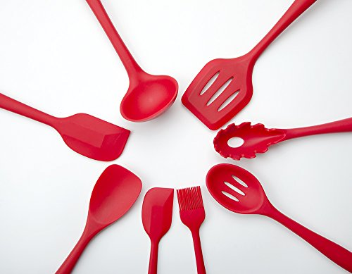 Set of 10 Pieces Silicone Kitchen Cooking Utensils With Hygienic Solid Coating,Heat Resistant Baking Spoonula,Brush,Whisk,Large and Small Spatula,Ladle,Slotted Turner and Spoon,Tongs,Pasta Fork Red 4 COMPLETE COOKING UTENSILS SET COVERS ALL KITCHEN NEEDS-Spoonula,brush,whisk,large and small spatula,ladle,slotted turner and spoon,tongs,pasta fork,perfect for all types of foods and cooking HIGH HEAT 450°F SILICONE-Safe for coated & non-stick cookware,they simply won't discolor,warp,melt or chip like your old plastic kitchen utensils or bamboo kitchen utensils. EASE OF USE:Ergonomically designed handles and the perfectly shaped heads,hanging loops on each end for easy storage.