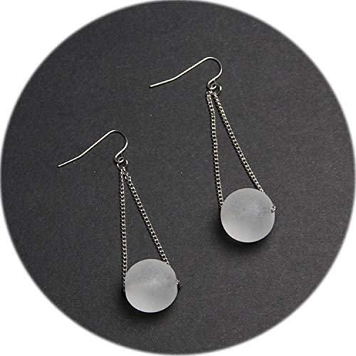 fashion woman earrings fine jewelry accessories The new eardrop of glass ball Grind arenaceous transparent glass earrings girl,Grind arenaceous]()