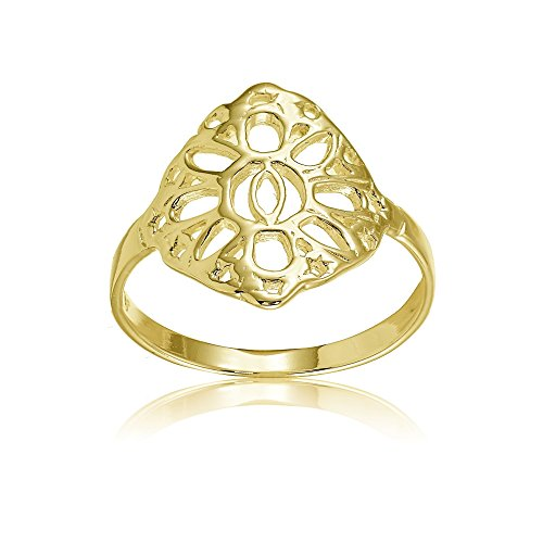- Yellow Gold Flashed Sterling Silver Filigree Celtic Sun Ring, Size 6