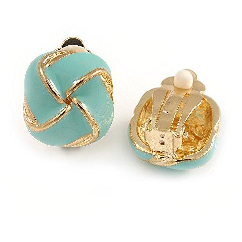 (Aqua Blue Square Enamel Clip On Earrings In Gold Tone -)