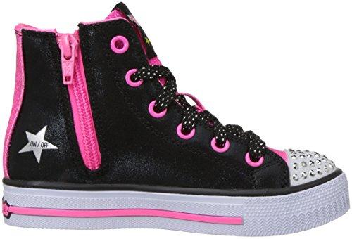 neon Negro Para rockin Niñas Skechers Entrenadores Pink Stars black Shuffles nHxY7qf