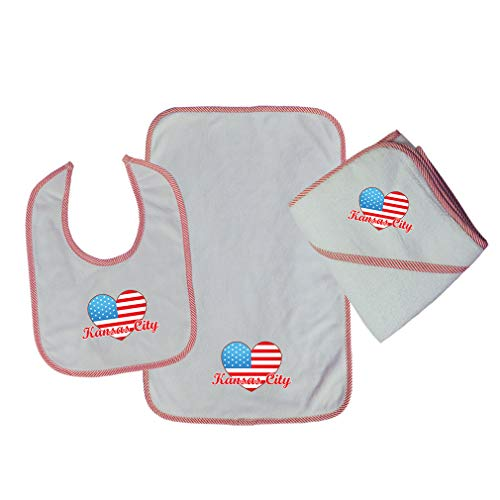 (Kansas City Cotton Boys-Girls Baby Bib-Burb-Towel Set - Red, One Size)