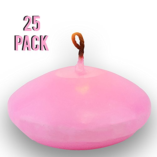 Just Artifacts 25pcs Water Floating Wax Tea Light Unscented 1.5'' Disc Candles (Color: Pink) by Just Artifacts