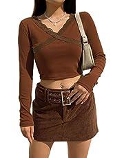 MAI Vrouwen Meisjes Lange Mouw Crop Top Ronde Hals Y2K Leopard Hart Gedrukt Leuke Streetwear Pullover Tops