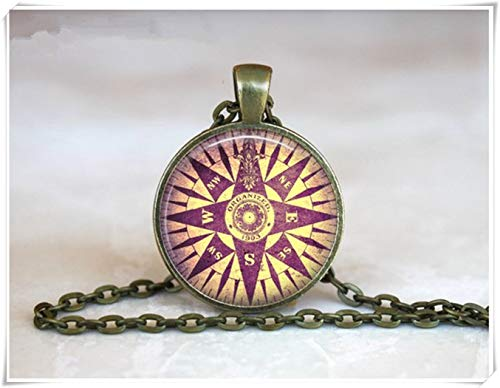 Northstar Explorer (we are Forever family Purple Compass Rose Pendant , Vintage Compass Necklace , Compass Necklace)