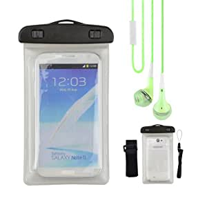 White Waterproof case for Samsung galaxy note 3 / note 2 / LG Optimus G Pro / HTC Butterfly S + VanGoddy Headphone with MIC , Green