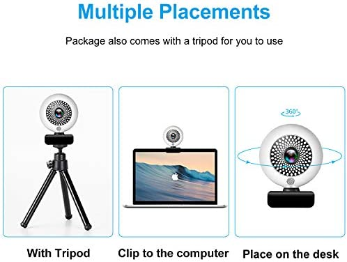 Web Cameras for Computers, MONODEAL 2K Ultra HD Webcam with Microphone, PC Webcam with Ring Light, Autofocus USB Streaming Gaming Webcam with Zoom (Tripod Included)