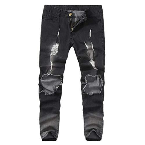 Hombre Gris Trabajo Pantalones Fit Pantalones De De Vaqueros Ajustados Playa para Deshilachados Desgastados De Trabajo De De Bol Elásticos Flacos Pantalones Slim Rasgados Mezclilla Pantalones xx4HzTwqS