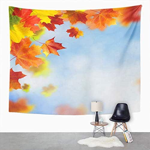Peyqigo Wall Hanging Tapestry Red Yellow Leaves Against Bright Blue Autumn Fall Season Foliage Collage Art Polyester Living Room Dorm Decoration Picnic Mat Beach Towel Home Decor 50 X 60 Inches