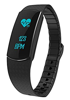 Demetory Fitness Tracker with Dynamic Heart Rate Monitor Waterproof Touch Screen Activity Bracelet Sleeping Monitor Pedometer Watch with Calling Number Display for IOS 7.0+ and Android 4.3+