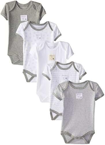 Burt's Bees Baby Set of 5 Bee Essentials Short Sleeve Bodysuits, Heather Grey Prints, Preemie