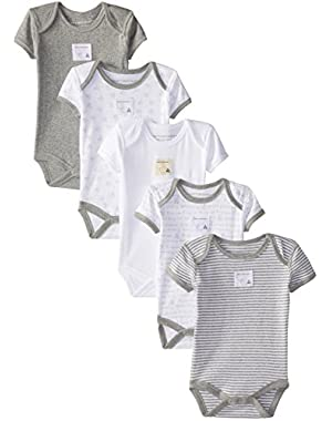 Set of 5 Bee Essentials Short Sleeve Bodysuits, 100% Organic Cotton
