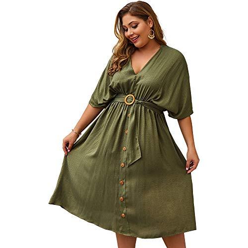 Timagebreze Vestido De Fiesta Con Cuello En V Vestido Largo De Verano Para Mujer Vestido Largo De Talla Grande Vestido Elegante Para Mujer Vestidos Midi De Gran Tamao Ejercito Verde Xxl