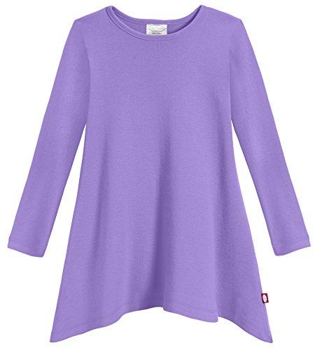 City Threads Girls Shark Bite Long Sleeve Tunic Top Blouse Shirt Stylish Modern All Cotton For Sensitive Skins SPD Sensory Friendly, Deep Purple, 3T