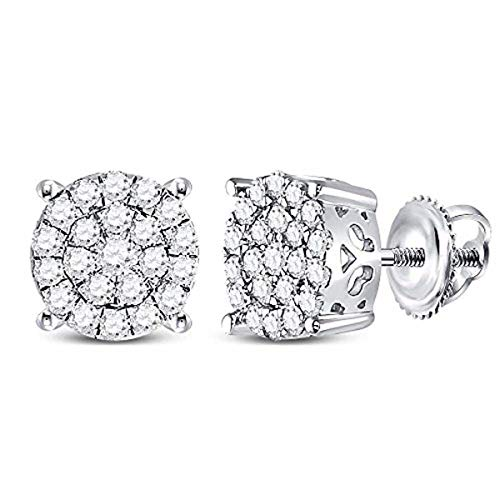 (Womens Round Diamond Concentric Circle Cluster Earrings 1/2-Carat tw, in 10K White Gold from Roy Rose Jewelry)