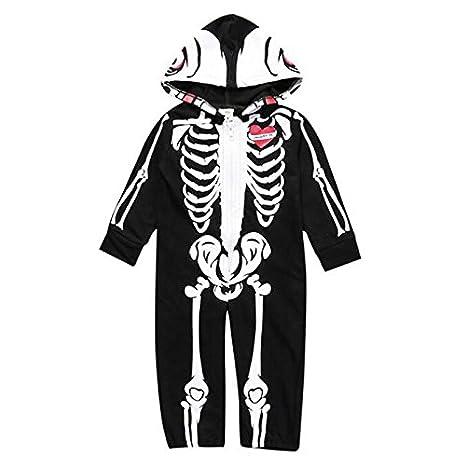 Zooarts Traje de esqueleto manga larga y con capucha para ...