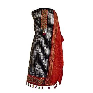 KATHIWALAS Women's Cotton Silk Bandhani Kutchh Work Salwar Suit Material (Batik Orange, Free Size) … 41NwQgD55lL