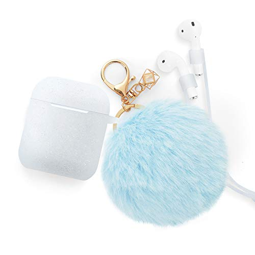 Airpods Case - BlUEWIND Drop Proof Air Pods Protective Pom Pom Keychain Case Cover Silicone Skin for Apple Airpods 2 & 1 Charging Case, Cute Fur Ball Airpods Keychain/Strap, Glitter Light Blue