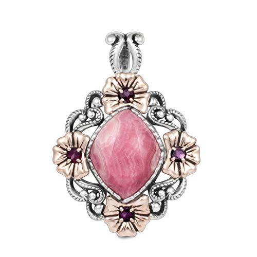 Carolyn Pollack Sterling Silver & Copper Rhodochrosite & Rhodolite Floral Pendant Enhancer ()