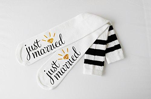 Just Married Bride Socks Knee High Wedding Socks Honeymoon Gifts Engagement Socks Bridal Shower Gift Bride Gift for Her Newly Married (Married Gift)