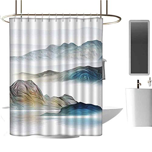 (StarsART Shower Curtains Pink and Gray Abstract Mountain, White Background (1) W36 x L72,Shower Curtain for Small Shower stall)