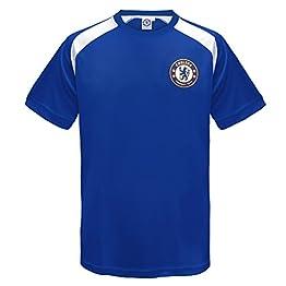 Chelsea FC officiel - T-shirt pour entrainement de football - polyester - garçon - bleu/blanc