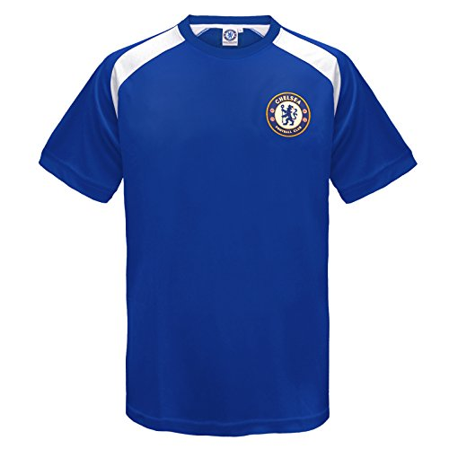 Fc Training Kit (Chelsea FC Official Gift Boys Poly Training Kit T-Shirt Blue 6-7 Years SB)
