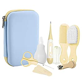 8Pcs Baby Daily Care Set Complete Baby Grooming Healthcare Kits with Nasal Aspirator, Thermometer, Nail Clipper Scissors Hair Brush Comb Manicure for Newborn, Infant, Toddler(Yellow)