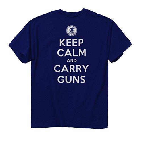 (Buck Wear Men's Keep Calm and Carry Guns Navy T-Shirt, X-Large, Navy)